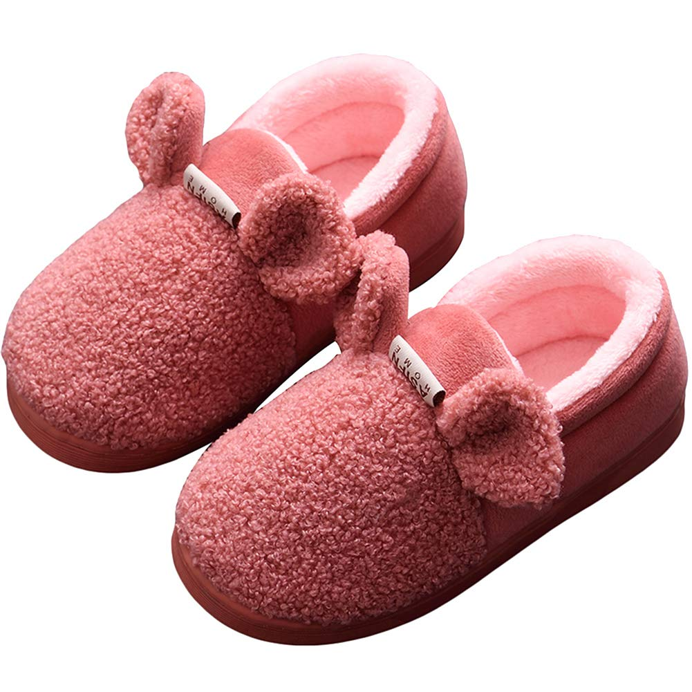 AGOWOO Toddler Kids Boys Girls Cute Closed Back Fuzzy House Slippers