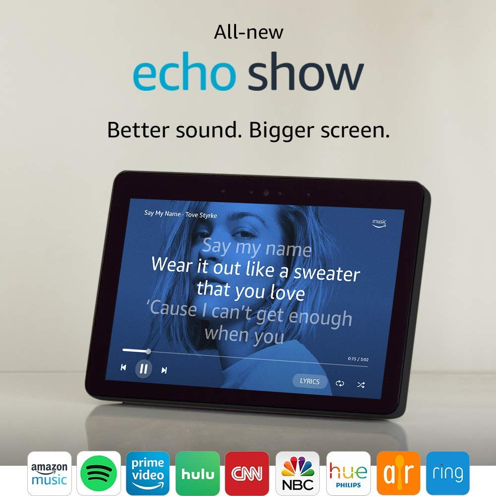 All-new Echo Show (2nd Gen) - Sandstone Fabric Bundle with Kasa Smart Wi-Fi Plug Mini by TP-Link