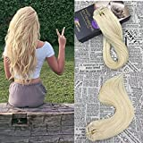 Moresoo Clip in Real Hair Extentions 20 inch Straight Clip in Human Hair Extensions Color #60 120g Per Pack