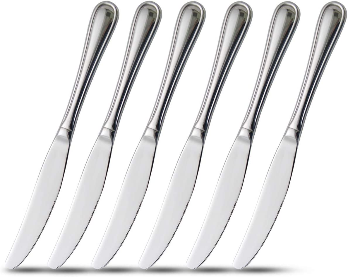 6-Piece Dinner Knives Set with Hollow Handle Table Knife Flatware Stainless Steel Mirror Polishing 9-Inch Silver Round: Kitchen & Dining