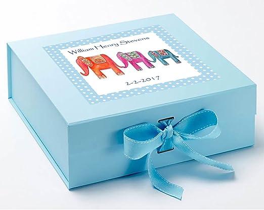 Caja de recuerdos para niños, azul caja de recuerdos, elefante caja de recuerdos, caja de recuerdo de bautizo, 1st Birthday caja de recuerdos.: Amazon.es: Hogar