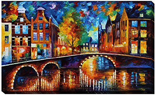 Picture Perfect International Giclee Stretched Wall Art by Leonid Afremov The Bridges of Amsterdam Artists-Canvas, 36