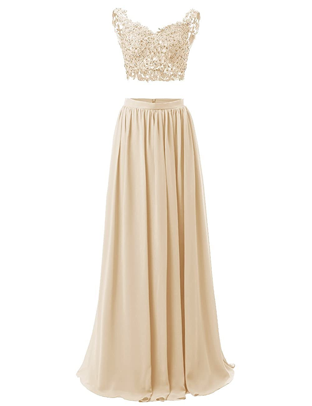 Champagne M Bridal Women's Sequines Appliques 2 Piece VNeck Long Prom Homecoming Dress