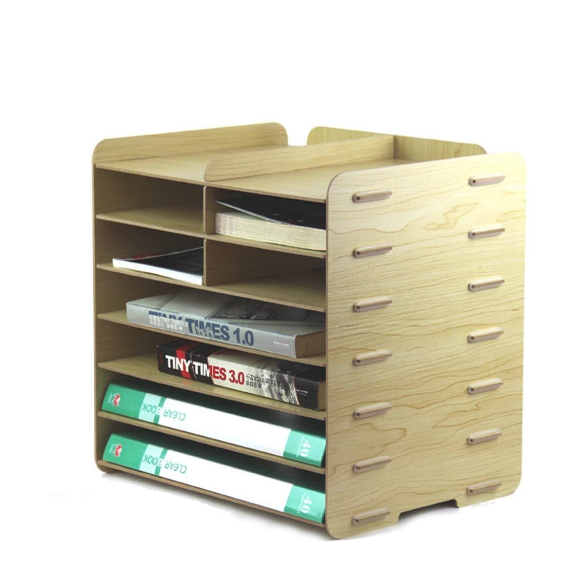 方朝日スポーツ用品店 オフィス用品デスクトップA4とA5ファイルボックスクリエイティブな木製のマルチレイヤーデータストレージラック (色 : Maple)  Maple B07RBJJVJ7