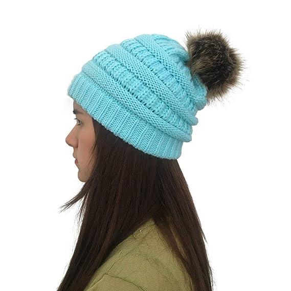 BHYDRY Cálido Invierno de Punto Sombrero de Vendedor de periódicos Gorro  Nieve esquí Cap para Mujer niña  Amazon.es  Ropa y accesorios f83a1be032f