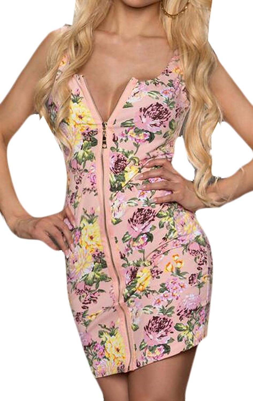 WANSHIYISHE Women's Printed Chest a Sexy Nightclub Hip Dress