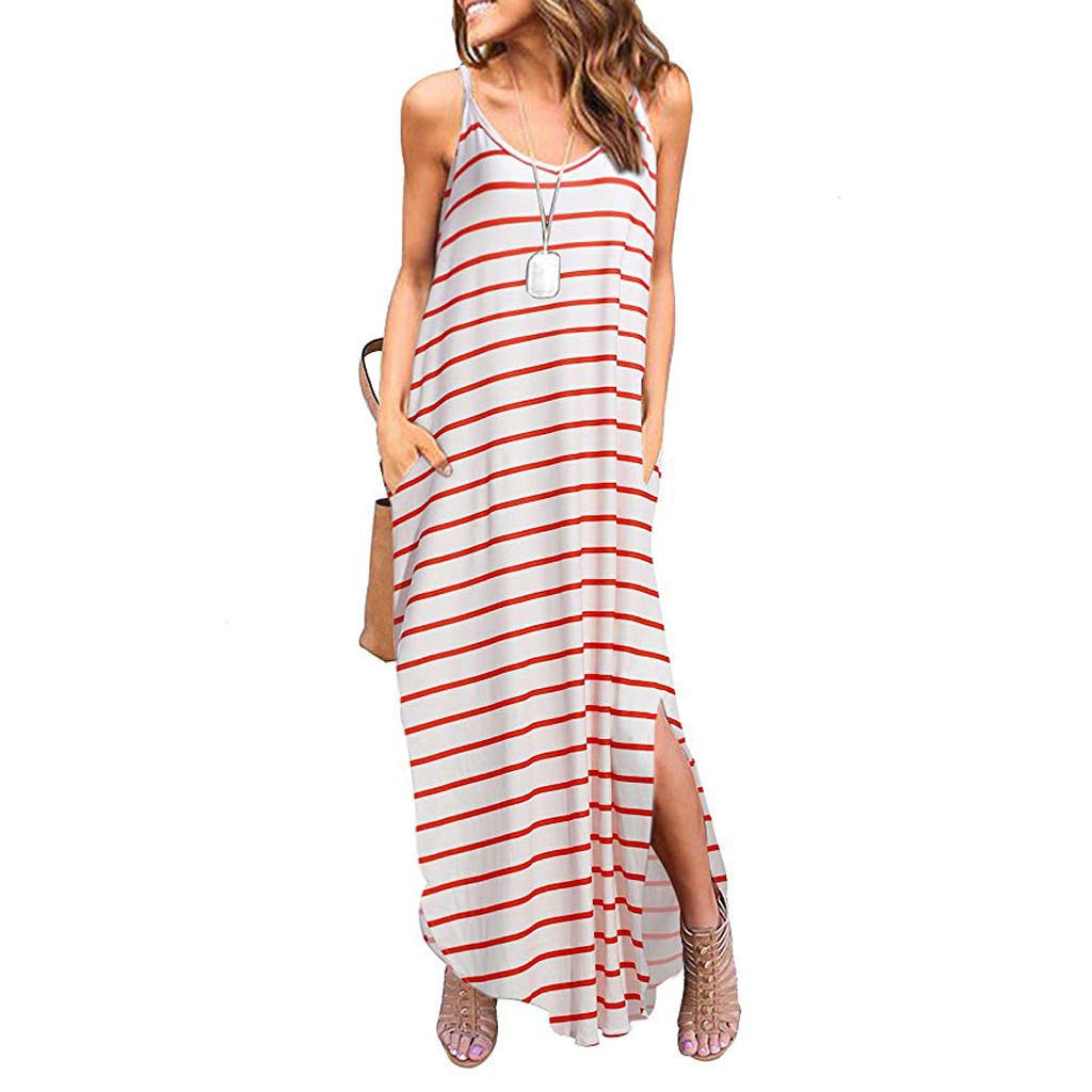 ZOMUSAR 2019 Women Summer Casual Pockets Strappy Long Dress Beach Cami Split Maxi Dress Red by ZOMUSAR (Image #3)