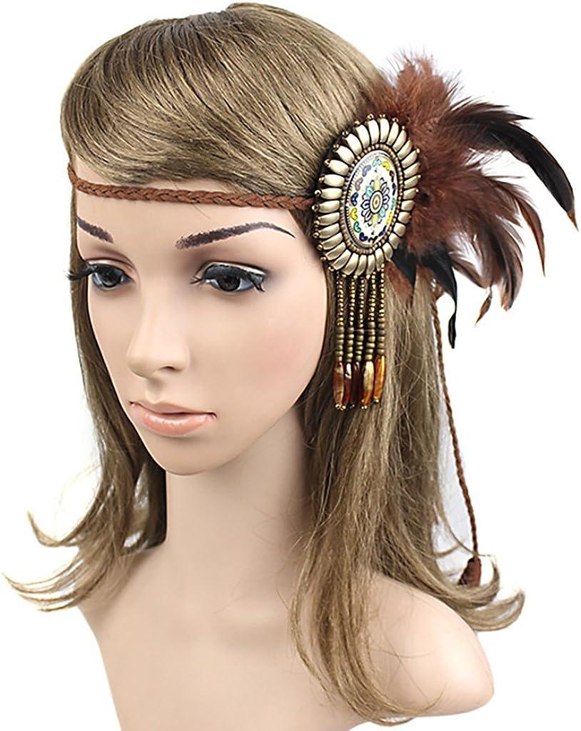 Sharplace Vintage Boho Hippie Indische Feder Stirnband Geflochtene Seil Kopfbedeckungen