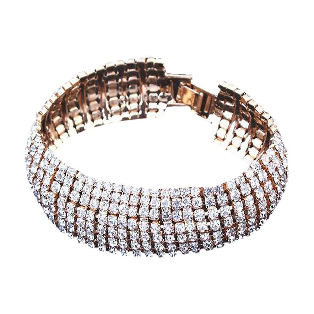 Booboda Women's Fashion Bracelet Rhinestone Elastic Multilayer Bracelet Fine Wedding Ball Party(Silver)