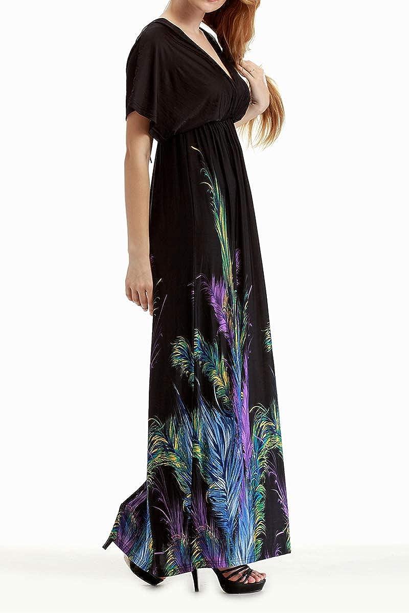 FEOYA Mujer Maxi Vestido Largo con Estampado Dise/ño de Alta Cintura Escote V Bohemio Beachdress para Playa Fiesta Verano 4 Modelos a Elegir