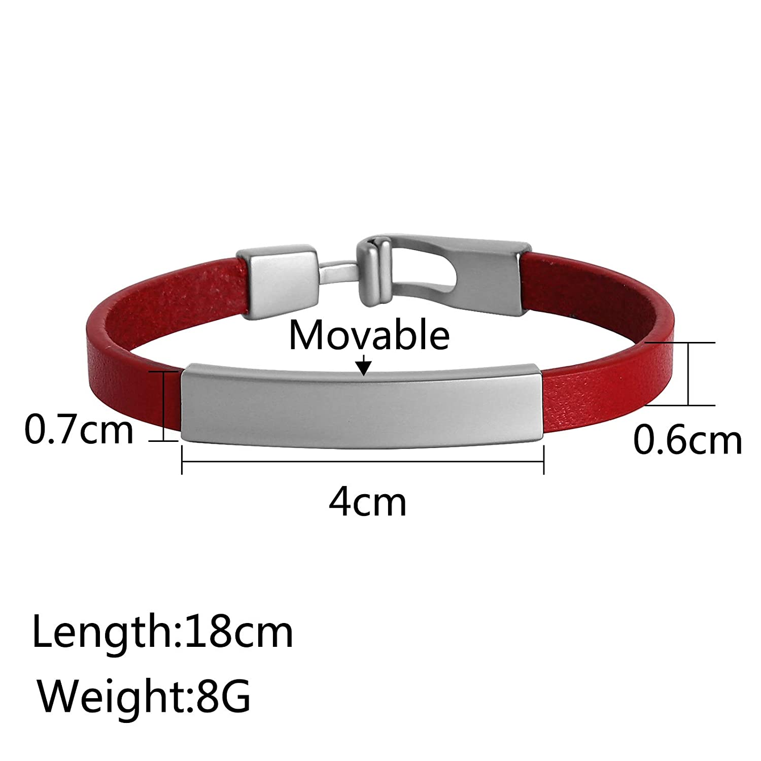 MoAndy Cuff Stainless Steel Bracelets Bangle Bracelets for He She Blank Tag Free Engraving
