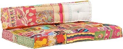 vidaXL Cuscino per Divano con Pallet Multicolore Tessuto Patchwork