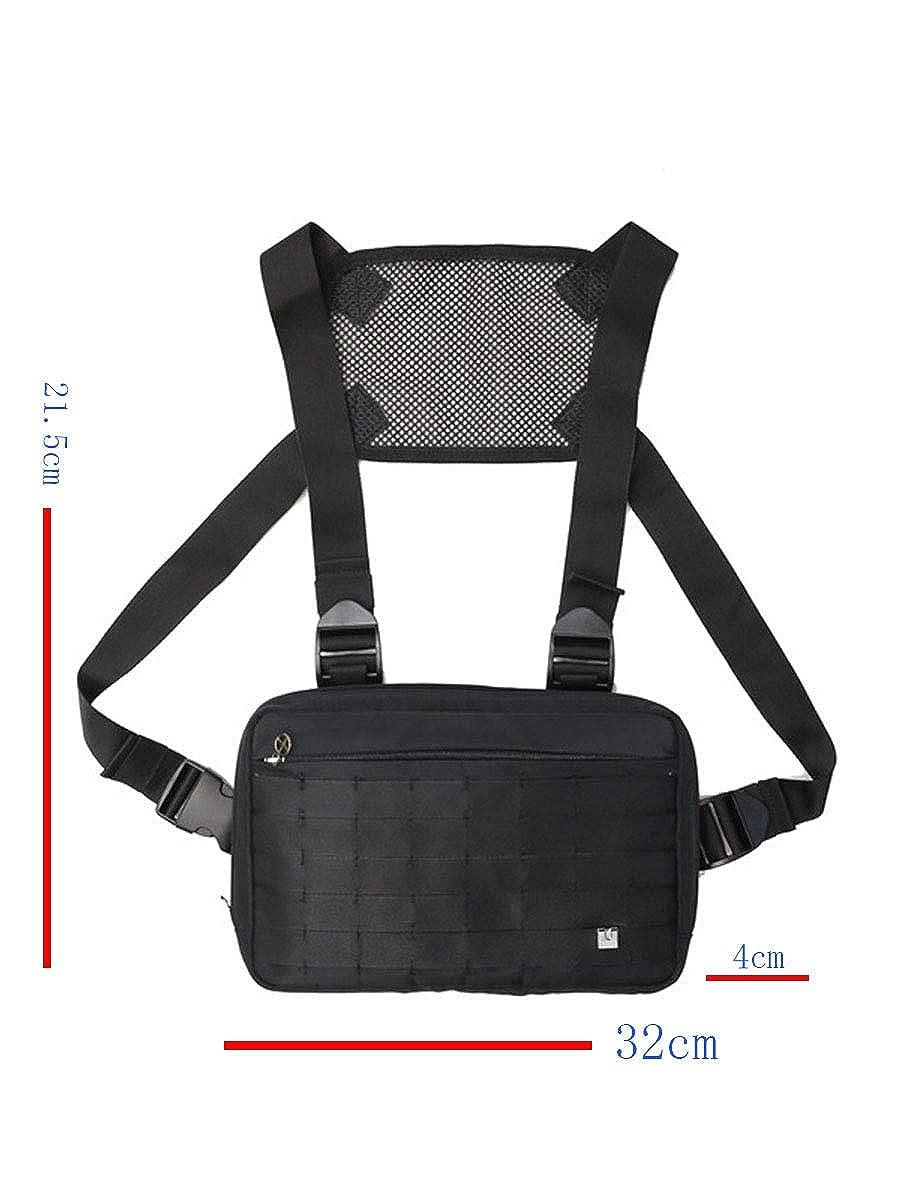 4 21,5 Cm Fonxoy-Backpack Zaino Monospalla Da Uomo Zaini Casual Borsa Tattica Multi-Tasca Per Pettorina Gilet Tattico Tooling 32 Nero