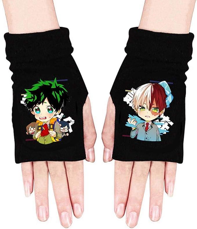 NXMRN Gants sans doigts Izuku Midoriya Deku Anime My Hero Academi Gants Cosplay Gants Mitaines Demi Doigts Imprim/é Gants Cadeau pour les fans danime