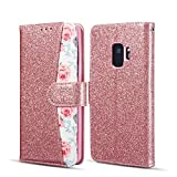EYZUTAK Rose Floral Pattern Case for Samsung Galaxy S7 Edge,Bling Glitter Leather Wallet Case with Credit Card Slot Magnetic Closure Flip Kickstand Cover for Samsung Galaxy S7 Edge,Rose Gold