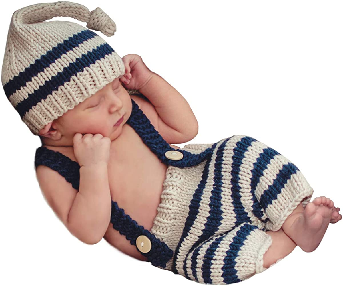 Amazon Com Isocute Newborn Photography Props Baby Boys Photo Shoot Long Tail Hat Beanie Overalls Blue Stripes Set Clothing