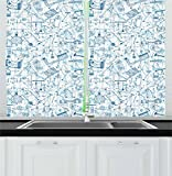 Ambesonne Doodle Kitchen Curtains, Physics Themed Drawing a Collection of Formulas Related to the Field Doodle Art, Window Drapes 2 Panel Set for Kitchen Cafe, 55 W X 39 L Inches, Blue Light Blue For Sale