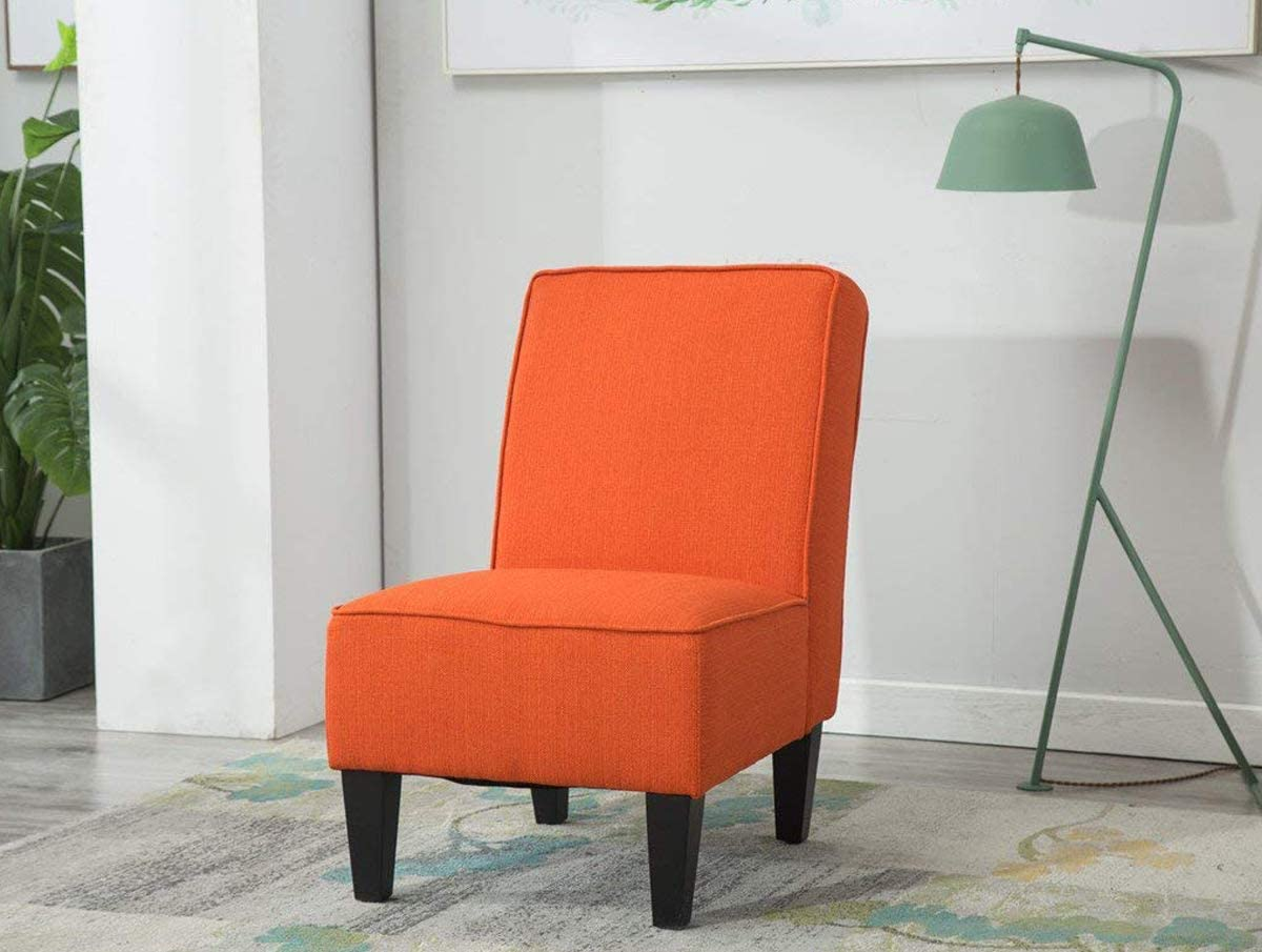 Yongqiang Upholstered Accent Chair Single Sofa for Dining Room Bedroom Living Room Chairs Fabric Armless Chair Orange