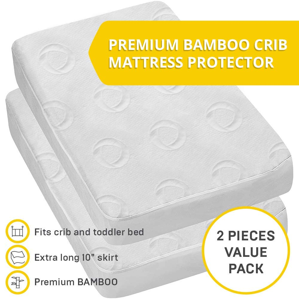 2-Pack Ultra Soft Crib Mattress Protector by Dellabella | 100% Hypoallergenic Bamboo. Stylish and a Perfect Fit for Cribs & Toddler Beds. Soft, Breathable, Quiet, Waterproof Crib Mattress Cover by DELLABELLA