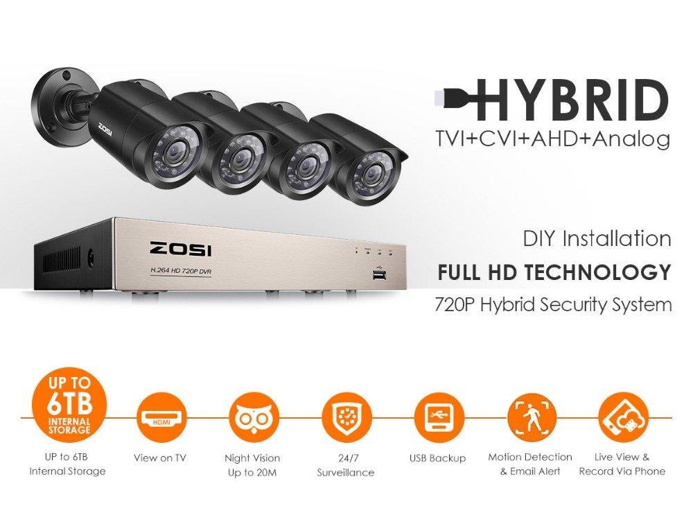 ZOSI 8 Channel 720P 1080N HD-TVI Security DVR Recorder HD Hybrid Capability