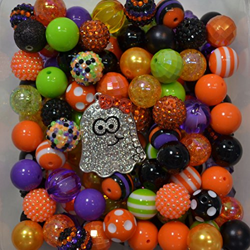(Halloween Themed Bulk Party Mix of 20mm Acrylic Bubblegum Beads in Fall Colors with Ghost)