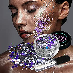 Cosmetic Glitter For Face, Body & Hair- Festival, Rave Silver with Fix Gel