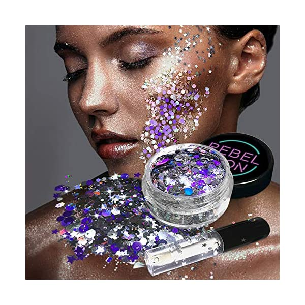 Cosmetic Glitter For Face, Body & Hair- Festival, Rave Silver with Fix Gel 3