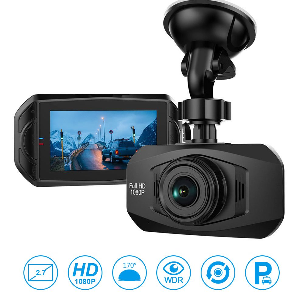 Car Camera - Dash Cam 170 Wide Angle Car Black Box Camera, Full HD Dashboard Camera for Cars, Car DVR Recorder Vehicle Dash Cam with G-Sensor Loop Recording WDR Motion Detection Super Night Vision
