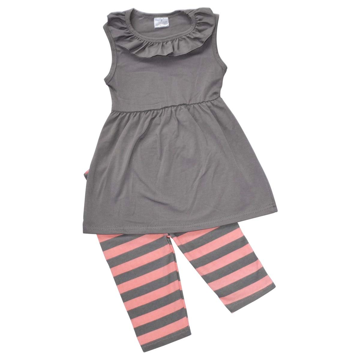 Unique Baby Girls Striped Summer Tank & Capri Boutique Outfit (6/XL, Grey)