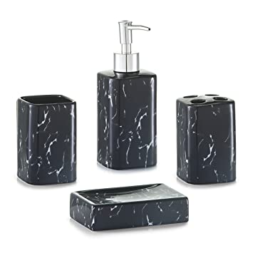 black accessories for bathroom. zeller \u0026quot;marble look\u0026quot; bathroom accessories set, black for