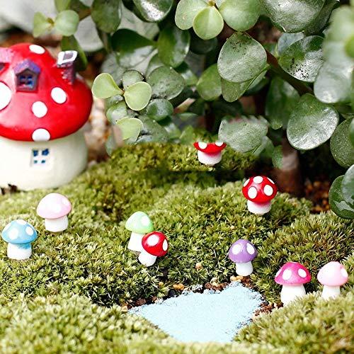 Azure Lexus Figurines & Miniatures - 10Pcs/lot Fairy Garden Miniatures Mini Mushroom Garden Decoration Resin Mushroom Craft Miniature Fairy Figurines Manualidades 1 PCs]()