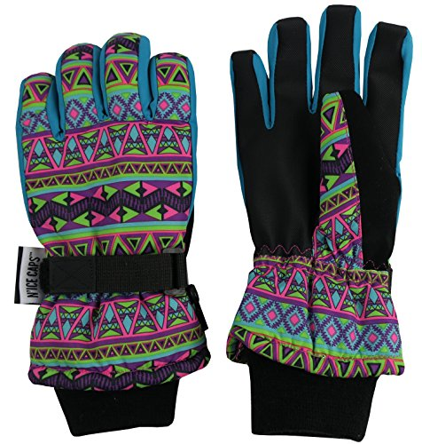 N'Ice Caps Women's Multi Color Print Thinsulate and Waterproof Outdoors Winter Gloves