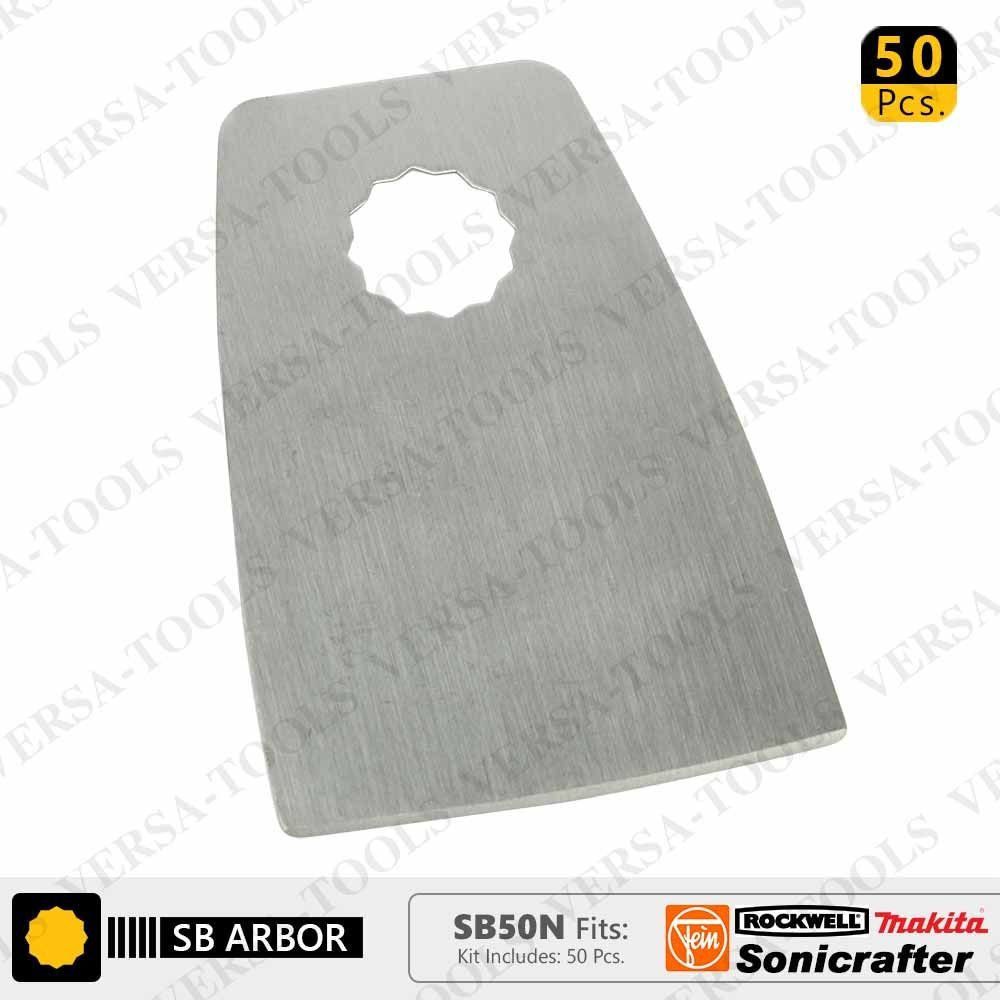 Versa Tool SB50N 52mm Flat Cut Stainless Steel Scraper Fits Fein Multimaster, Rockwell, Sonicrafter, Makita Oscillating Tools - 50/Pack by Versa-Tool