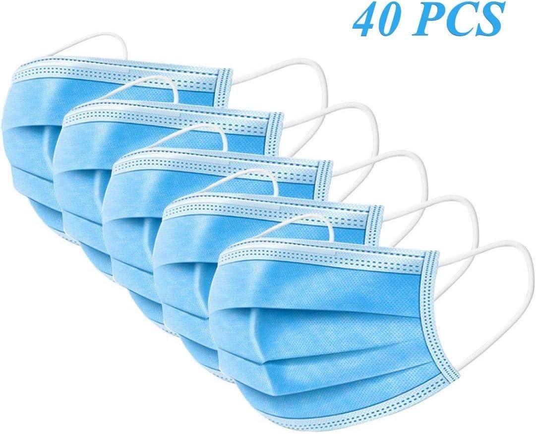 Leynatic 40 faciales – 3 Capas de protección contra el Polvo sanitarias con Bucle elástico y Clip para la Nariz