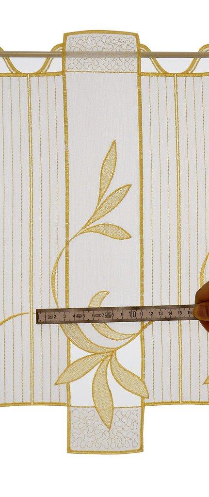 Vorhang K/üche Wohnzimmer | Wei/ß Breite der Gardine durch gekaufte Menge in 15,5 cm Schritten w/ählbar Anfertigung nach Ma/ß florentina Scheibengardine Lochstickerei 30 cm hoch