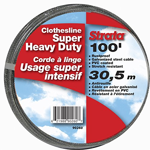 (Strata 100' Silver Clothesline - Super Heavy Duty Galvanized Steel Cable, PVC Coasting)