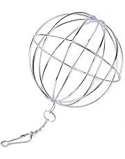 Su-luoyu Boule de Foin Chaîne Balle Distributeur Nourriture Acier Inoxydable Jouet Balle à Nourriture sur Chaîne pour Hamster Lapin