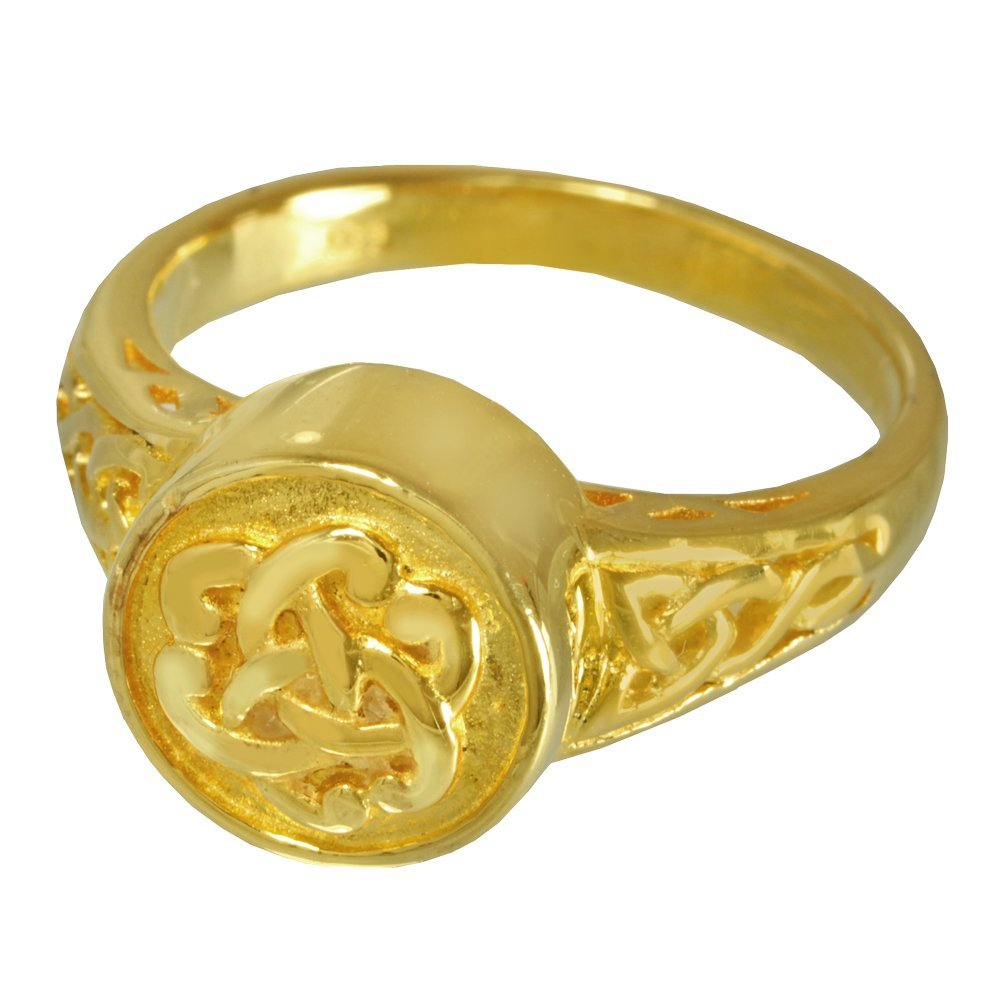 Memorial Gallery 2003GP-8 Celtic Ring 14K Gold/Sterling Silver Plating Cremation Pet Jewelry, Size 8