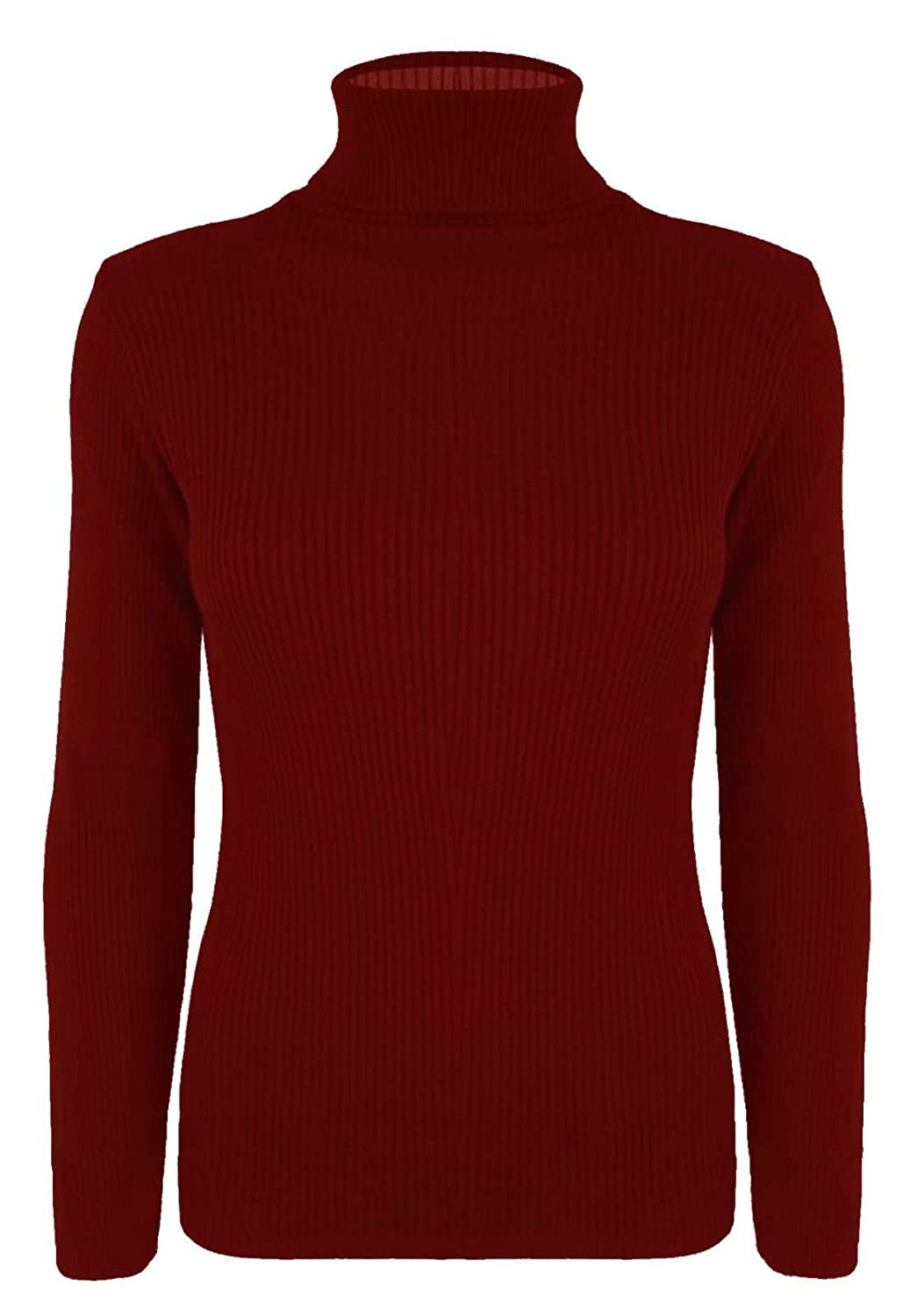 New Womens Plain Ribbed Knitted Polo Turtle Neck Stretch Long Sleeve Jumper Top UK