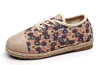 04b039ca12 Classic peas Shoes Flat Women's Shoes Comfortable Linen Canvas Shoes(Blue  35/4 B