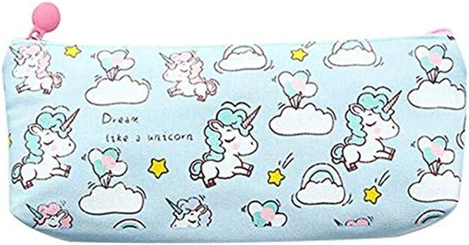 DaoRier Unicornio Single Estuche de L/ápices Capacidad Grande Caja de L/ápiz Estudiantes Bolso de la Pluma Organizador Bolsa Rosa 20/×9.2cm