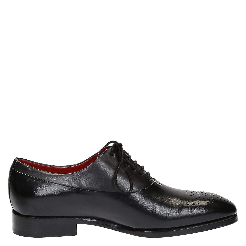 LEONARDO scarpe Stringate Uomo 6460VITELLONERO Pelle Nero