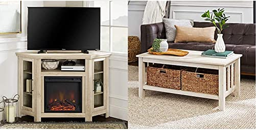 Walker Edison Furniture Company Tall Wood Corner Fireplace Stand for TV s up to 55 , 48 Inch, White Oak Rustic Wood Rectangle Coffee Accent Table Storage Baskets Living Room, 40 Inch, White Oak