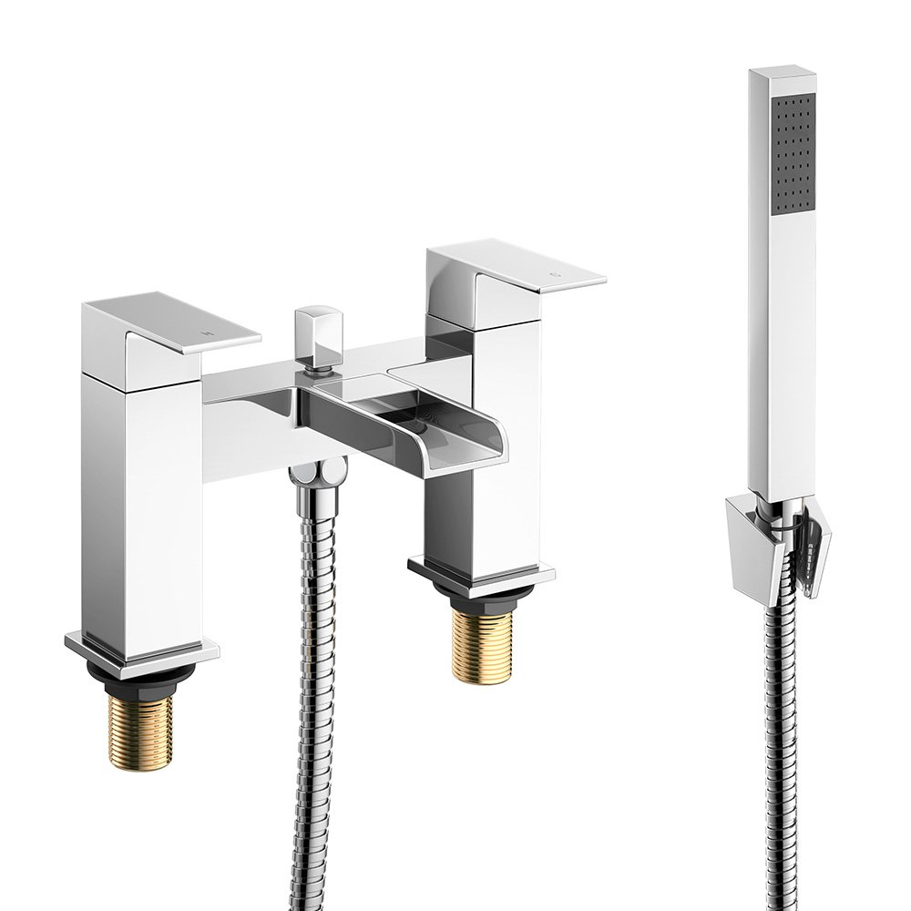 iBathUK Modern Waterfall Bath Filler Mixer Tap with Bathroom Hand ...
