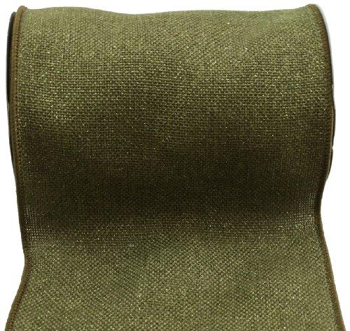 Kel-Toy RDJB106-09 Sparkle Faux Burlap Ribbon, 6-Inch by 10-Yard, Olive Green