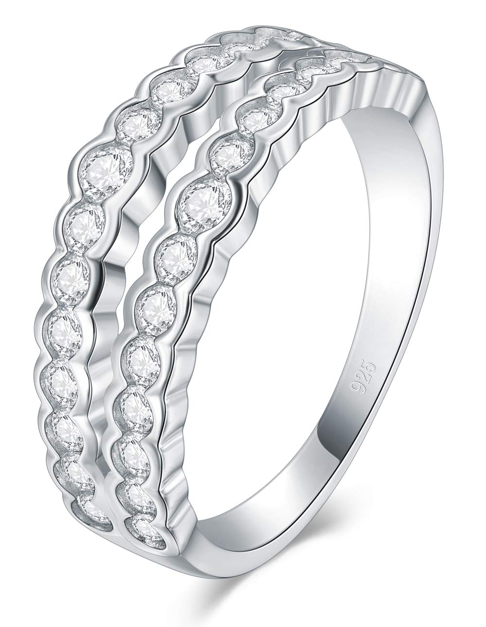 CloseoutWarehouse Simulated Ruby Cubic Zirconia Stackable Eternity Ring Sterling Silver Size 11