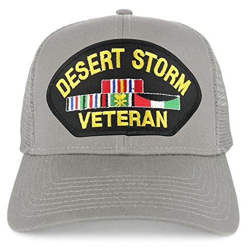 Armycrew Desert Storm Veteran Embroidered Patch Snapback Mesh Trucker Cap - -