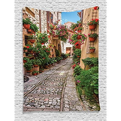 Ambesonne Tuscan Decor Collection, Historical Mediterranean Street Full Of  Flowers In Town In Italy In Sunny Day, Bedroom Living Kids Girls Room Dorm  ...