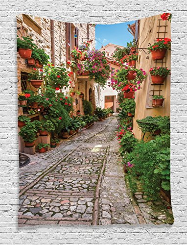 Ambesonne Tuscan Decor Collection, Historical Mediterranean Street Full of Flowers in Town in Italy in Sunny Day, Bedroom Living Kids Girls Room Dorm Accessories Wall Hanging Tapestry, Red Pink Green