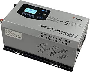 AMPINVT 2000W Peak 6000W Pure Sine Wave Power Inverter DC 12V to 110V AC Output Converter with Battery AC Charger LCD Display,Off Grid Low Frequency Solar Inverter for Car, Battery Priority Selector